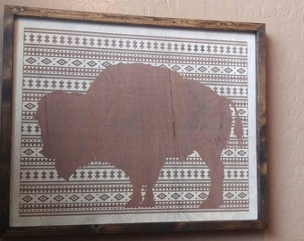 Highly Detailed Wooden Buffalo Engraving 16x20
