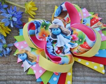 Smurfs hair bows Smurfs birthday Smurfette hair bows Smurfette birthday Smurfs party favors Smurfette bows Smurfs hair clip Gift for girls