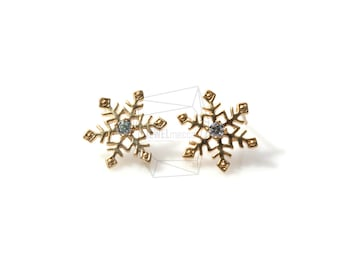 ERG-319-MG/2PCS/Snowflake Earring/12mm x 13mm/Matte Gold Plated over Brass