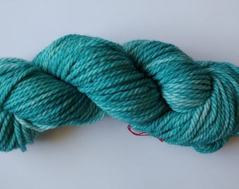 Hand dyed yarn, 100g Bulky weight, Superwash merino, teal, Ready to ship, Light Teal
