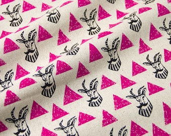 Impala Moustache Pink Triangle Echino Kokka Japan Deer Cotton Linen Canvas Fabric