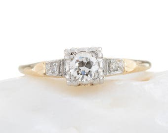 Diamond engagement ring  | Vintage Art Deco period | estimated .25 ct Old European diamond  H - i | VS2 - Si1 | 14 kt gold | 1930