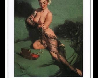 "Gil Elvgren Vintage Pinup Illustration ""Fascination 1954"" Sexy Pinup Mature Wall Art Deco Book Print 9 3/4"" x 14"""