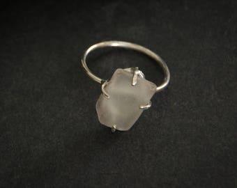 Sea Glass Shard Sterling Silver Ring, Artisan Sea Glass Jewelry, Boho Jewelry, Statement Jewelry, OOAK