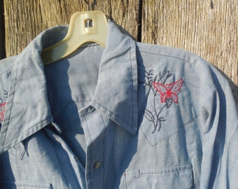 Vintage mens pearl snap work shirt with red  and blue butterfly embroidery long sleeve thin light weight chambray embroidered yoke 70s