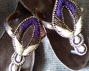 Amani - Handmade Real Leather Beaded Kenyan Sandals, Thongs, Flip flops, Slides