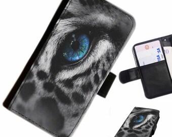 Leo 07 Leopard Blue Eye custom Leather PU wallet phone case for Samsung, LG, Motorola, Sony, Google, Huawei with card slots, money slots