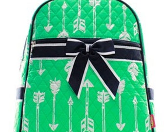 Mint Green Quilted Arrow Backpack/Bookbag - Personalized/Monogrammed