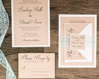 Rustic Layered Wedding Invitation