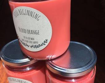 13 oz 100% Soy candle. Blood Orange