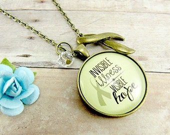 Invisible Illness Awareness Pendant Necklace Chronic Illness Spoonie Jewelry Encourage Gift Ribbon Visible Hope