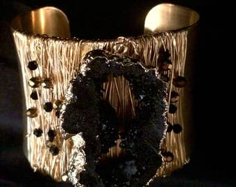 Black geode cuff bracelet. On Sale!!!