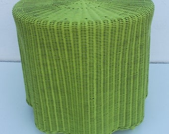 Vintage  Rattan  Woven Drapped Form End Side Table .