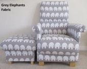 Elephants Fabric Adult Chair  Footstool Nursery Bedroom Playroom Grey or Blue Bespoke Animals Armchair Footstall