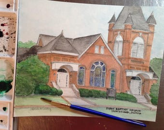 Watercolor Painting of First Baptist Church in Montezuma, GA - 8x10 print