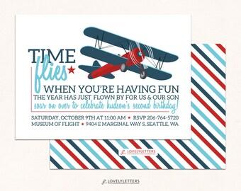 Airplane Birthday Invitation / Vintage Airplane Invitation / Retro Invitation / Time Flies Birthday Birthday / Digital Invite / Plane Party
