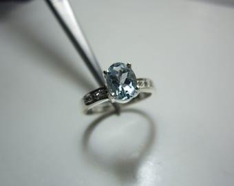 natural aquamarine and natural diamond ring, aquamarine ring, WOOW