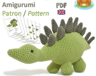 Dinosaur Stegosaurus Amigurumi Crochet  Pattern - PDF British Terminology