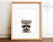 Raccoon print, Woodland animals, PRINTABLE art, Nursery decor, Animal art, Baby animals, Nursery wall art, Kids art,Baby raccoon,Nursery art