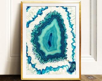 Agate art,Minimalist art PRINTABLE art,teal aqua turquoise,nature print,nursery print,nursery wall art,modern print,minimalist print