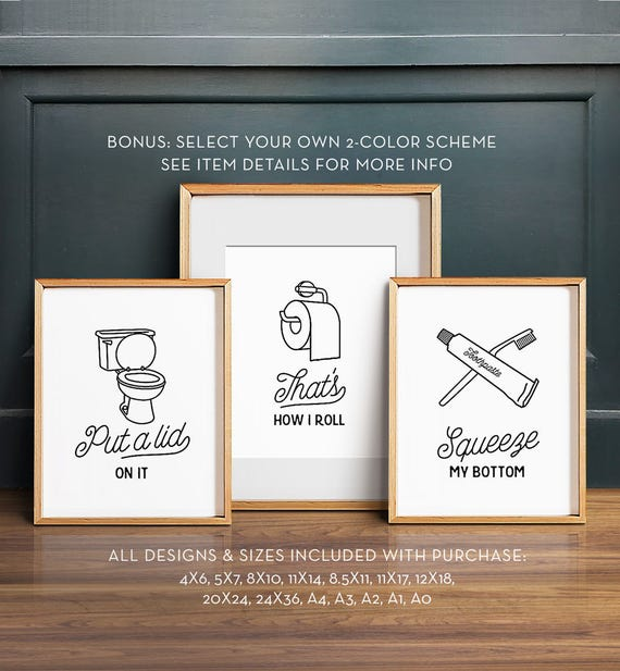Funny wall art bathroom art printable art set of 3 for Pictures for bathroom wall decor
