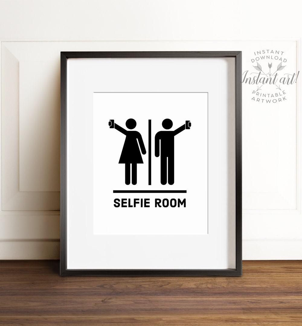 Funny Bathroom Art Printable Art Selfie Room Bathroom