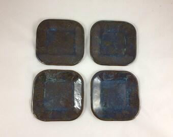 Set of 4 Ceramic Appetizer Plates, Tapas plates, Dessert plates, Snack Plates, Handmade, Hand Built Pottery, Wedding gift, Housewarming gift