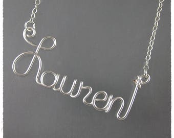 Lauren Wire Word Name Pendant Necklace