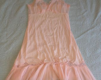 Vtg Pink Negligee Womens Sheer Silky Night Gown