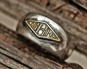 monogram ring, word ring, initial ring, name ring, mens ring, vintage ring, silver ring, engraved ring, personalized ring, custom ring