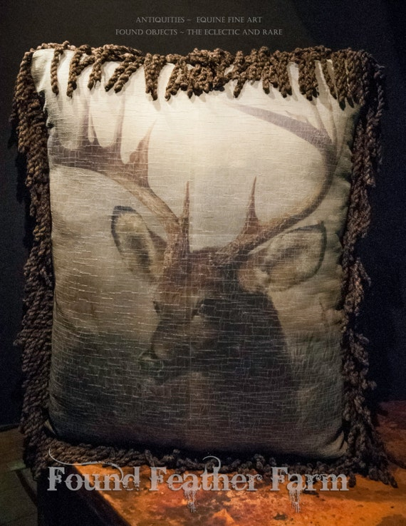 Gorgeous Vintage Printed Velvet English Stag Pillow with Heavy Fringe