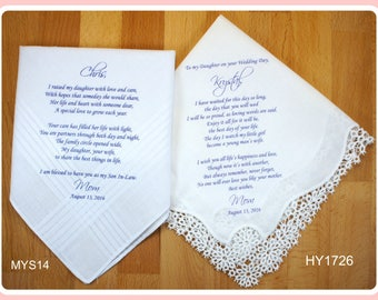 Wedding hankerchief from the parents of the Bride-Wedding Handkerchief-PRINTED-CUSTOMIZED-Wedding Gift to daughter-from mother of the bride