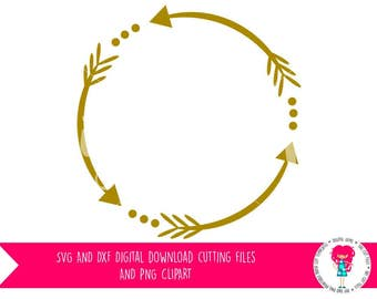 Tribal Circle, Arrow Circle SVG / DXF Cutting File For Cricut / Silhouette Cameo & PNG Clipart, Digital Download, Commercial Use Ok