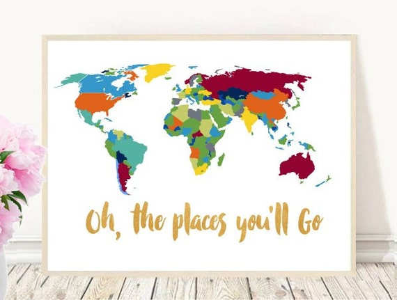 oh the places you 39 ll go printable art world map. Black Bedroom Furniture Sets. Home Design Ideas