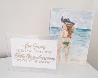 Custom Calligraphy Long Distance Relationship Coordinates Art
