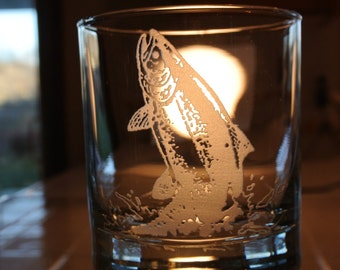 salmon on whiskey glass