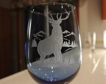 elk on blue large wine glass