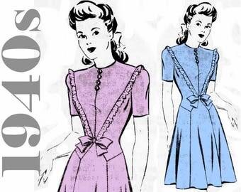 """1940s Dress Pattern Juniors Dress MAIL ORDER 8516 bust 35"""" 1940s Womens Clothing 1940s Fashion Teen Dress Flared Skirt High Neckline Dress"""