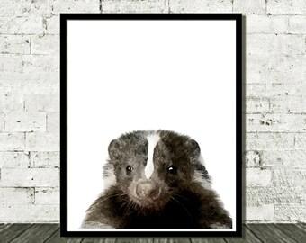 Woodland Animals, Nursery Decor, Printable Art, Nursery Print, Skunk Print, Baby Print, Skunk Art, Nursery Decor Art, Modern Wall Art