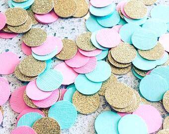 """Paper confetti, 200pc 3/4"""" Mint Pink double-sided Gold Confetti, circle confetti, wedding decor, table decor"""