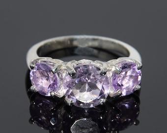 Amethyst ring, Silver amethyst ring, Purple stone ring, Gemstone ring, Birthstone ring, Three stone ring, 3 stone ring, Custom stone ring