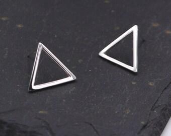 Open Triangle Large Stud Earrings in Sterling Silver - Minimalist Geometric Design  z30