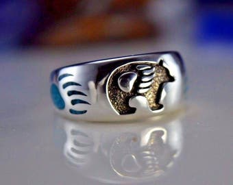 Sterling silver ring a Navajo Grizzly Bear design and crushed Kingman Turquoise inlay Size: 7 through 15.5 available