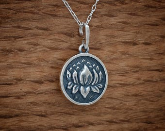 Lotus Flower Medallion - STERLING SILVER- Chain Optional