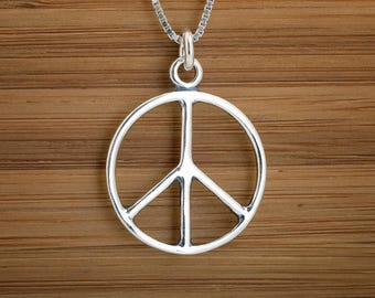 Classic Peace Sign Pendant or Earrings -STERLING SILVER- Chain Optional