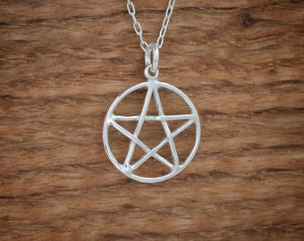 Pentacle, Pentagram Pendant, Charm or Earrings - Sterling Silver- Chain Optional