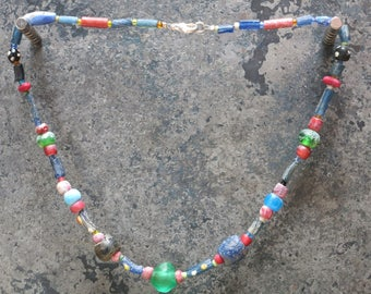 Colorful Roman glass beads necklace