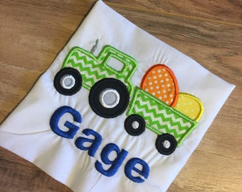 Monogrammed Easter Tractor with Eggs Boy Shirt or Onesie Embroidered Personalized