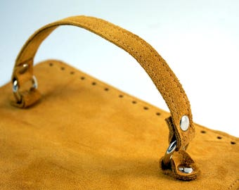 Mustard suede bag cap with handle Dimensions: 25x19 cm or custom suede leather bag accessories straps,purse straps,anses cuir, bag