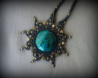 Chrysocolla sea star pendant macrame necklace